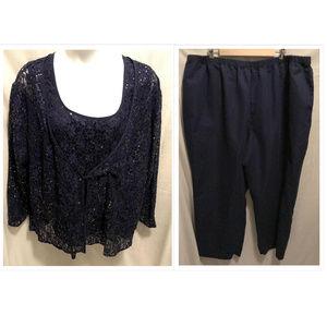 Size 28W 3 Pc Woman Within Top & Pants Set